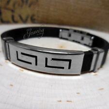 Black Rubber Men's Stainless Steel Geo Bracelet