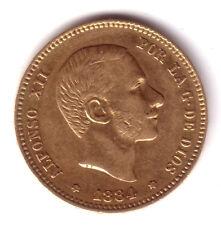 ESPAGNE 25 pesetas or 1884 etoiles parfait 18 84 Roi Alfonso XII