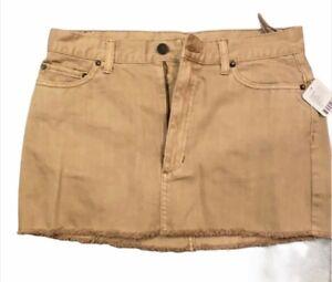 Free People Mini Skirt Frayed Khaki Size 6 NWT