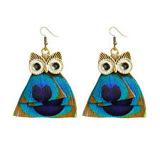 Fashion owl long Feather Circle Chain Dangle Chandelier Earring Jewelry Adorable