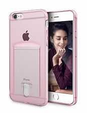 iPhone 6 6S Ultra Thin Clear Pink 4.7 Inch Case Protective TPU With Card Holder