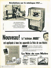 PUBLICITE ADVERTISING 085  1956  LA VOIX DE SON MAITRE  RSI  éléctrophone meuble