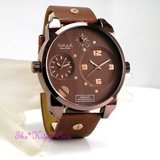 OMAX Brown SS Seiko Movt Gents Mens World Multi Zone Triple Time Watch N004F55A