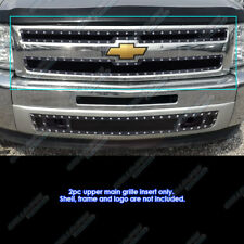Fits 2007-2013 Chevy Silverado 1500 Stainless Black Rivet Mesh Grille Inserts