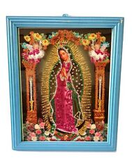 Authentic MEXICAN Virgin of Guadalupe Glittery Retablo Painting Icons Kitsch #24