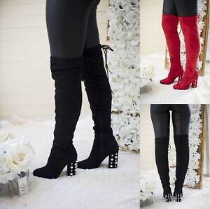 Ladies EXE Cavalier Thigh High Over the Knee Black Boots UK 4-8