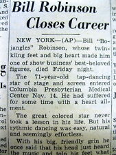 "1949 newspaper with DEATH of BILL ""Bojangles"" ROBINSON famous Negro tap dancer"