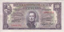 Uruguay Banknote 37D-6321 10 Pesos Serie D-7 Digits serial number, VF+