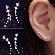 Fashion Women Rhinestone Crystal Earrings Ear Hook Stud Silver Jewelry Gift LJ