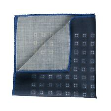 New Sartorial Pocket Square Handkerchief Hand-Rolled in Italy Wool Medallion 10