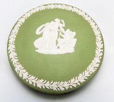 Josiah Wedgwood jasperware Sage Green cupid angel women Trinket Round Lidded