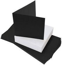 "40 x 6"" x 6"" BLACK BLANK CARDS 225gsm & ENVELOPES 100gsm CARD MAKING CRAFT 2310"