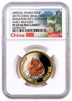 2017 S China Singapore Intl Coin Fair Tri-Metal Panda NGC PF69 UC ER SKU47421