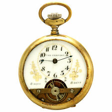 8 Day Fancy Dial with Exposed Balance Wheel Unsigned Swiss Pocket Watch CA1890s