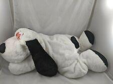 "White Dog Plush Black Ears Orange Eyes 27"" Long Stuffed Animal"