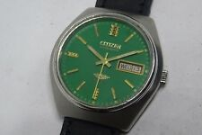 *BEAUTIFUL CITIZEN AUTOMATIC DAY&DATE GREEN COLOR DIAL GOLDEN FIGURE RUN ORDER