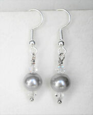 Light grey 8mm glass pearl and clear glass bead 4cm drop