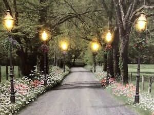 """Park LED Light Up Canvas Print Painting LARGE 32X24"""" Wall Art By ZENDA IMPORTS"""