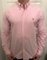 GENUINE RALPH LAUREN SMART Plain Pink DESIGNER Long Sleeve SHIRT Size MEDIUM - M