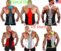 US Men Gym Singlet Tank Top Tee Stringer Bodybuilding Y-Back Muscle Fitness Vest