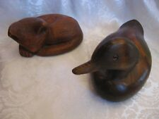 Lot of (2) WOOD DUCK & SLIPPING CAT Figurines