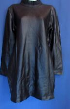 French Connection Black Shiny Bodycon Stretch Long Sleeve Dress Zipper Back  NEW