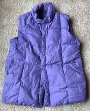 Lands' End Girls Purple Down Vest Jacket Sz L 14-16 Women's Sz M Lilac Snaps EUC
