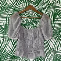 Zara Sheer Polka Dot Puff Sleeve Square Neck Crop Top Women's Size Medium