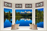 Huge 3D Bay Window Exoitic Mountain Lake View Wall Sticker Decal Wallpaper S65