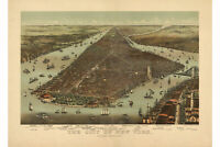Map of New York City; Lower Manhattan; Antique Bird's Eye Map, c.1892