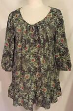 Liberty of London Target Peacock Feather Smock Top Pullover Blouse Shirt L XL