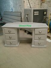 CLASSIQUE DOUBLE PEDISTAL 6 DRAWER DRESSING TABLE EARL GREY WITH CHROME CUPS