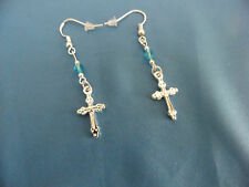 Cross, Ss Wires, Blue Crystal Beads New Earrings 2-Sided Small Tibetan Silver