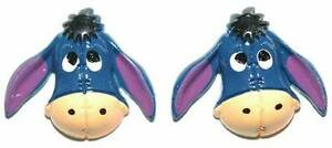 EEYORE RESIN STUD or CLIP ON EARRINGS (S240)