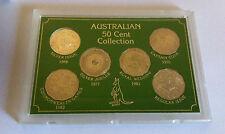 1966 TO 1983 UNC 50c AUSTRALIAN COMMEMORATIVE 6 COIN COLLECTION SET