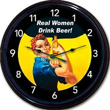 Rosie the Riveter Beer Real Women Drink Beer Poster Wall Clock WWII New 10""