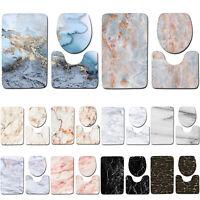 3PCS Marble Pattern Rug Set Toilet Covers Non-slip Bathroom Bath Mat Room Decor