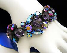 Vintage Regency Rhinestone Bracelet Purple AB Butterfly Design