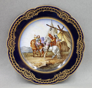 Antique Sevres Style Porcelain Hand Painted Limoges Plate Soldiers Horses Dog
