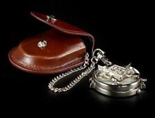 Taschenuhr - Freimaurer Kompass Symbol mit Kette + Ledertasche