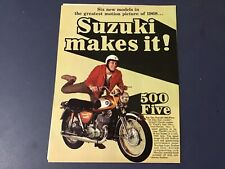 1968 Suzuki 500 Cobra and other models original 2 page print ad