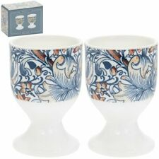 VINTAGE STYLE WILLIAM MORRIS GOLDEN LILY SET OF 2 EGG CUPS SET NEW IN GIFT BOX