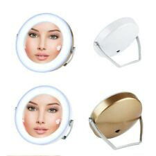 Folding Pocket Mirror Cosmetic Compact with LED Lights Lamps Makeup Portable 3X