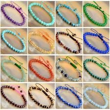 Natural 6mm Gemstone Bracelets Healing Power Crystal Macrame Adjustable 7-9 Inch