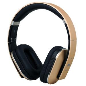 August EP650G Bluetooth NFC Kopfhörer gold Lederohrpolster