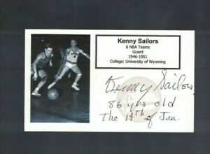 Kenny Sailors Wyoming Boston Celtics Signed Custom Index Card W/Our COA