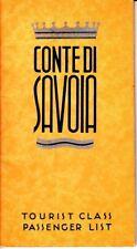 Conte de Savoia Tourist Class Passenger List Italian Line June 12 1937