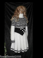 Handgestrickt Pull Robe Tricot Tunique Mohair L/XL Hand Knitted Mini Dress