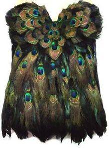 Sexy Burning Hot Black Raven Peacock Feather Corset USA Made 4 U