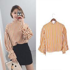 Locker Kasual Schnürung Lolita Top Shirt Streifen Bluse Stehkragen Damen Mädchen